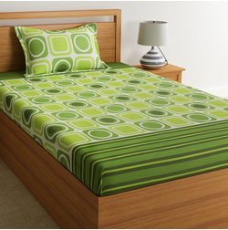 100% Cotton Single Bed Sheets Online Sale, 140TC Single Bedsheet With Pillow Cover, Single Bed Sheet by Home Ecstasy, single,  light green geometric