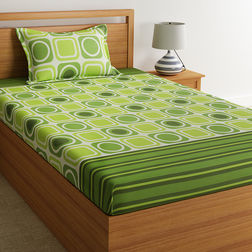 100% Cotton Single Bed Sheets Online Sale, 140TC Single Bedsheet With Pillow Cover, Single Bed Sheet by Home Ecstasy,  light green geometric, single