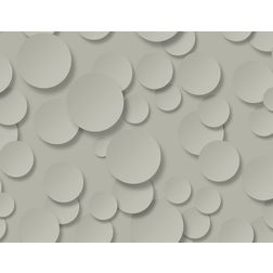 Elementto Creative Circle Design Modern 3D Wallpaper for Walls - td32100, grey
