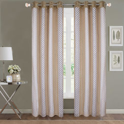Sheer Curtains Dreamscape, Geometric Beige Sheer Curtains, beige, door