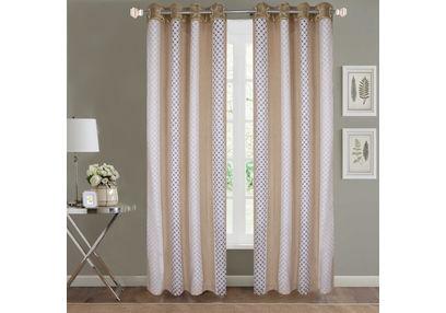 Sheer Curtains Dreamscape, Geometric Beige Sheer Curtains, beige, door