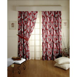 Sonalika Floral Readymade Curtain - 21, window, red