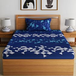 100% Cotton 144TC Geometric Designs Bed Sheet with 1 Pillow Covers, single, blue