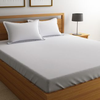 Satin Bed sheet with Two Pillowcovers, 100% Cotton 800 Thread Count, double, white