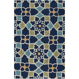 Floor Carpet and Rugs Hand Tufted, The Rug Concept Navy Carpets Online Tbilisi 6054-S, 3ft x 5ft, navy blue