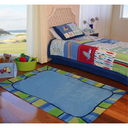 Floor Carpet and Rugs Hand Tufted, AC Concept Kids Blue Carpets Online - KD-87-L, blue, 3ftx5ft