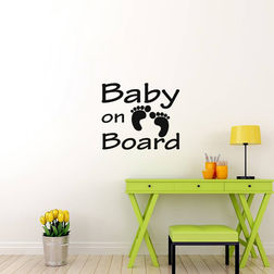 Kakshyaachitra Baby Feet on Board Kids Wall Stickers, 24 21 inches
