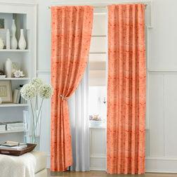 Constellation Floral Readymade Curtain - 106, door, orange
