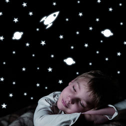 Kids Wall Sticker Home Decor Line Rocket & Stars - 77226