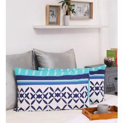 HomeEcstasy 100% Cotton 140TC Printed Blue Pillow Pair, blue
