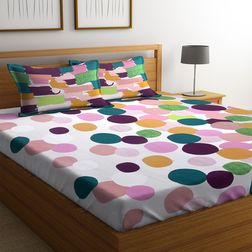 100% Cotton Bedsheets For Double Bed With 2 Pillow Covers, Dreamscape 140 TC Geometric Printed Bedsheet, double, white