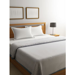 Dreamscape Premium Polyviscose Off White Bed Blanket with Border, double