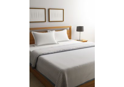 Dreamscape Premium Polyviscose Off White Bed Blanket with Border, double blanket, off white, double