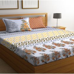 100% Cotton Bedsheets For Double Bed With 2 Pillow Covers, Dreamscape 140 TC Floral Printed Bedsheet, double, brown