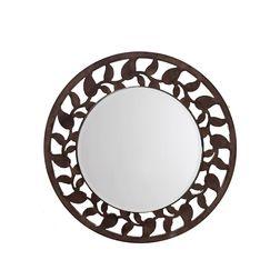 Aasra Decor Leaf Border Mirror Decor Wall Mirror, brown