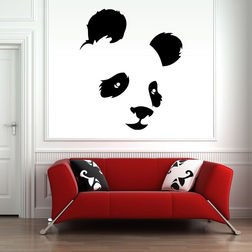 Kakshyaachitra Panda Face Wall Stickers For Kids Room, 31 36 inches