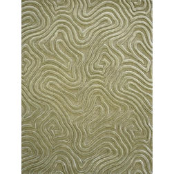 Floor Carpet and Rugs Hand Tufted, AC Concept Geometric Green Carpets Online -B2-33-L, 3ftx5ft, green