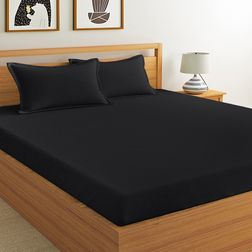 Satin Bed sheet 400 Thread Count with Two Pillow covers, 100% Cotton, double, black