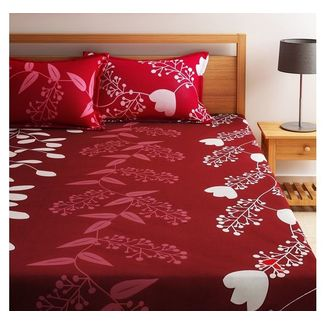 Home Ecstasy 100% Cotton 140TC One Bed sheet With Two Pillow Covers, red, double