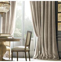 Shiva Solid Readymade Curtain - SJ702, window, beige