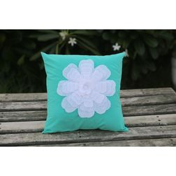Mint Flower Cushion Cover MYC-12, pack of 1, green