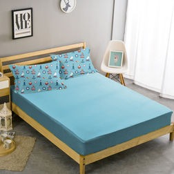 Double Bed Sheet With Two Pillow Covers BS-4, double, blue