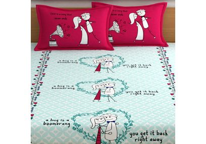 My Room exclusive lover heart bed sheets with quotes & characters, 210TC satin premium bedsheets with 2 pillow covers, queen, (MR05), mint, double