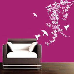 Kakshyaachitra Chirpy Birds Wall Stickers For Bedroom And Living Room, 32 48 inches