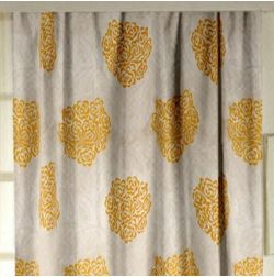 Jewel Floral Readymade Curtain - 17, window, yellow