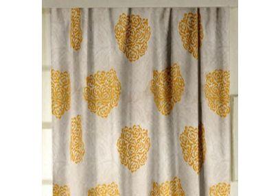 Jewel Floral Readymade Curtain - 17, window, yellow