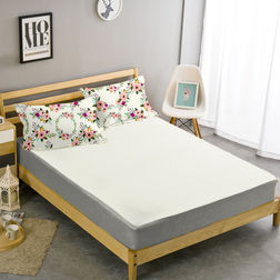 Double Bed Sheet With Two Pillow Covers BS-17, double, white