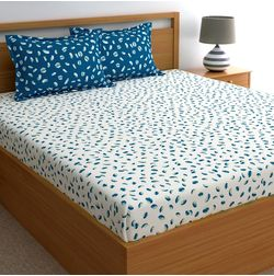 Dreamscape 180TC Twill Blue Abstract Double Bedsheets, blue, double