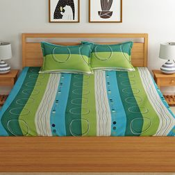 100% Cotton 140TC Stripe Designs Bed Sheet with 2 Pillow Covers, double, green