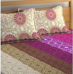 100% Cotton Bedsheets For Double Bed With 2 Pillow Covers, Dreamscape 140 TC Floral Printed Bedsheet, pink, double