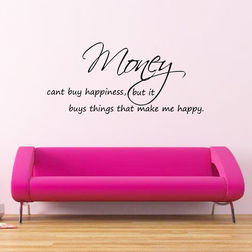 Kakshyaachitra Money Can't Buy Happiness Wall Stickers For Bedroom And Living Room, 24 11 inches