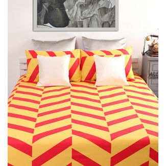 Dreamscape 100% Cotton 144TC One Bed sheet With Two Pillow Covers, orange, double