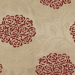 Jewel Floral Curtain Fabric - 22, red, fabric