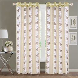 Sheer Curtains Dreamscape, Floral Ivory Sheer Curtains, door, ivory