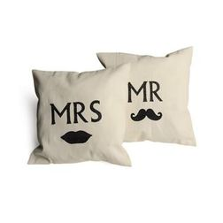 Mr & Mrs Cushion Cover MYC-85, pack of 2, cream