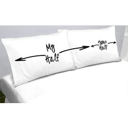My Half Your Half Pillow Cover MYC-99, pack of 2, white