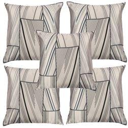 My Room Satin Beige & Black Geometric Cushion Covers, pack of 5, beige