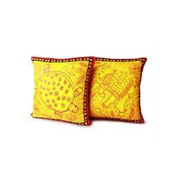 Mad(e) In India Madhubani Printed Cushion Covers, yellow