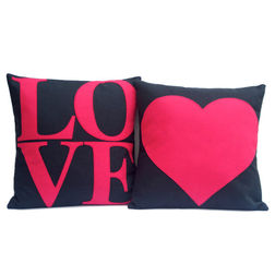 Love Cushion Cover MYC-56, pack of 2, blue
