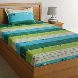 100% Cotton Single Bed Sheets Online Sale, 140TC Single Bedsheet With Pillow Cover, Single Bed Sheet by Home Ecstasy,  stripe green, single