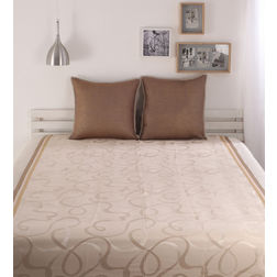 Dreamscape Polycotton Beige Abstract Bedcover, without pillow cover, beige