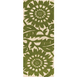 Floor Carpet and Rugs Hand Tufted AC Concept FloralGreen Carpets Online - RN-77-L, 3ftx5ft, green