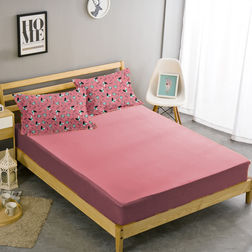 Double Bed Sheet With Two Pillow Covers BS-27, double, pink