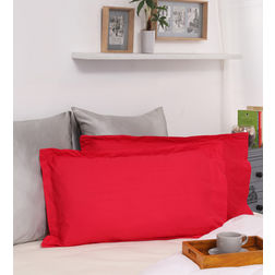 Dreamscape 100% Cotton 250TC Percale Red Pillow Pair, red