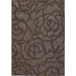 Floor Carpet and Rugs Hand Tufted, AC Concept Floral Black Carpets Online -B4-19-L, 3ftx5ft, black