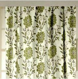 Romania Floral Readymade Curtain - 14, door, green